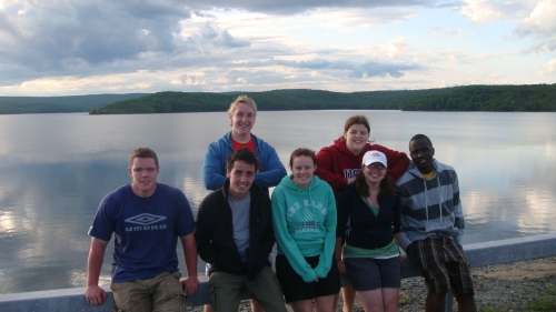 Summer Staff at Neversink Resevoir (L-R) Finbarr, Greg, Kris, Penny, Cara, Leigh, Amadu